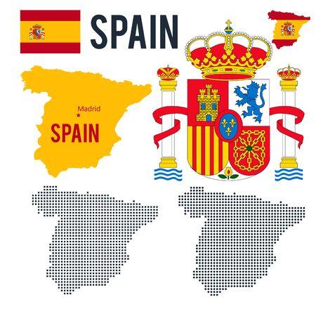 Map coat emblem flag halfton maps of Spain isolated on a white background Stock Photo