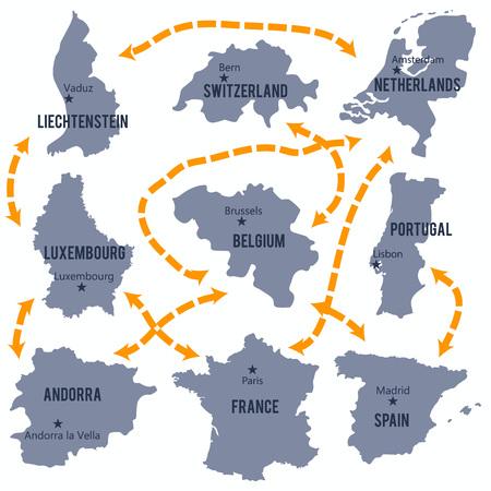 kaart van Luxemburg, België, Frankrijk, Nederland, Portugal, Spanje, Liechtenstein, Andorra en Zwitserland