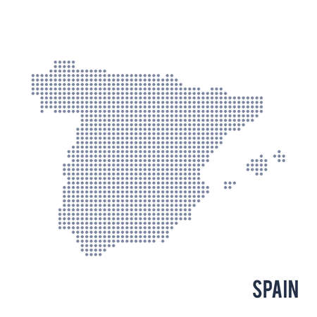 Vector dotted map of Spain isolated on white background .