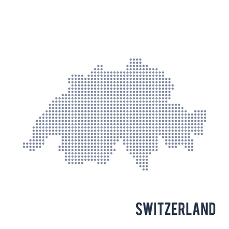 Vector dotted map of Switzerland isolated on white background .