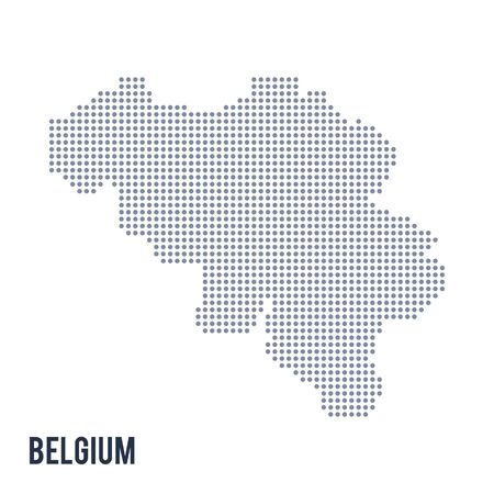 central european: Vector dotted map of Belgium isolated on white background .