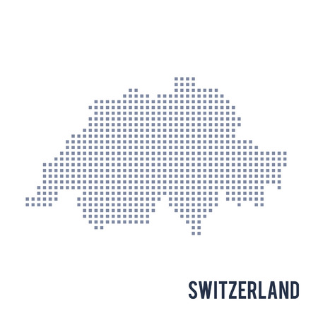 Vector pixel map of Switzerland isolated on white background.