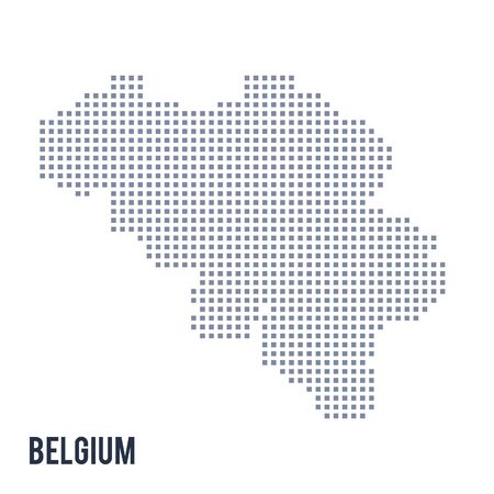 Vector pixel map of Belgium isolated on white background