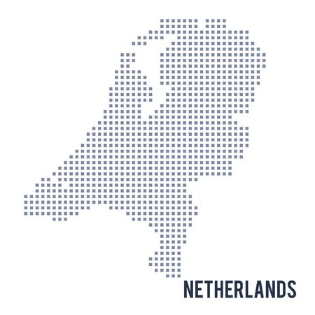 Vector pixel map of Netherlands isolated on white background