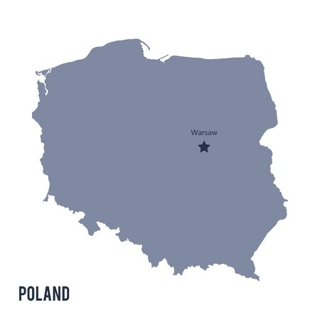 delineation: Vector map of Poland isolated on white background.