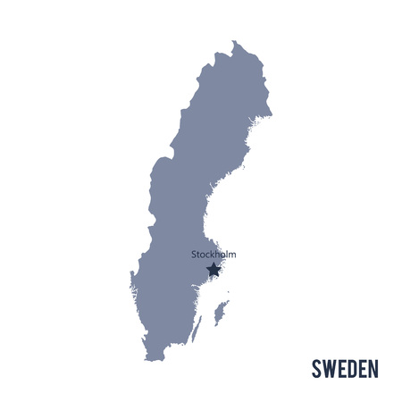 Vector map of Sweden isolated on white background.