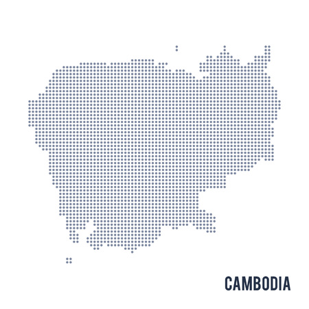 cambodian: Vector dotted map of Cambodia isolated on white background . Travel vector illustration