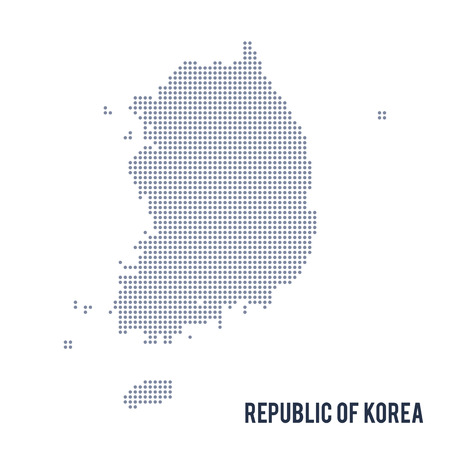 asian art: Vector dotted map of Republic of Korea isolated on white background . Travel vector illustration Illustration