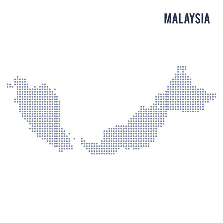 Vector dotted map of Malaysia isolated on white background . Travel vector illustration  イラスト・ベクター素材