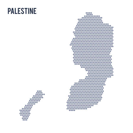 Vector hexagon map of Palestine on a white background