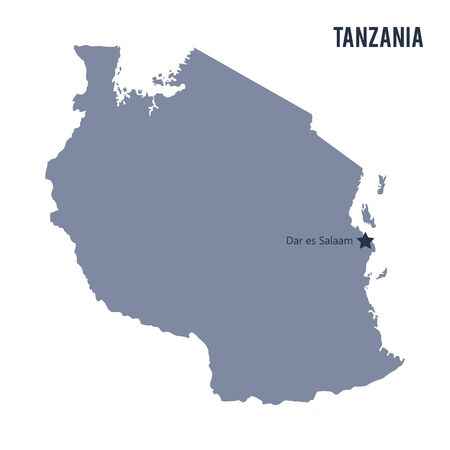 Vector map of Tanzania isolated on white background.