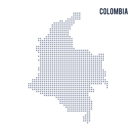 Vector pixel map of Colombia isolated on white background . Travel vector illustration