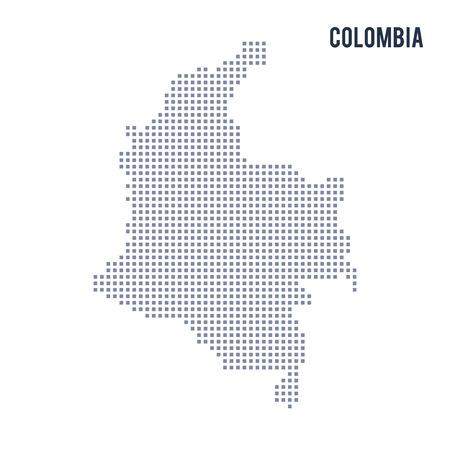 Vektorpixelkarte von Kolumbien lokalisiert auf weißem Hintergrund. Reise-Vektor-Illustration