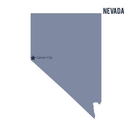 Vector map State of Nevada isolated on white background. Travel Vector Illustration.