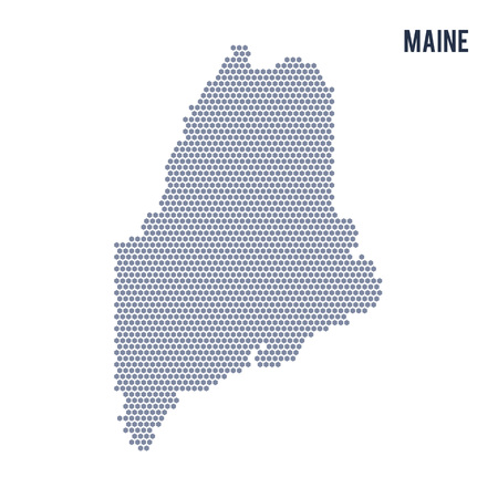 Vector hexagon map of State of Maine . Business space illustration of the state .