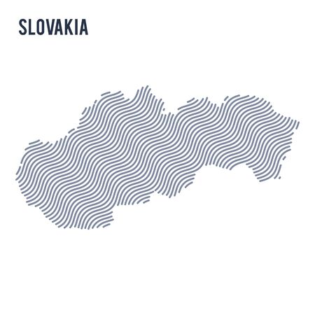 Vector abstract wave map of Slovakia isolated on a white background. Travel vector illustration.