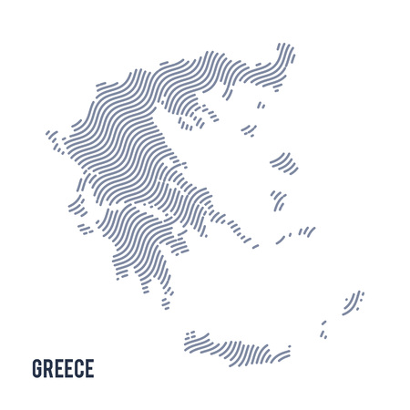 Vector abstract wave map of Greece isolated on a white background. Travel vector illustration.