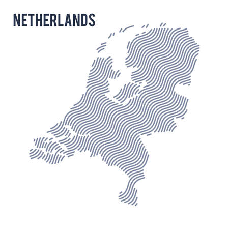 map of netherlands: Vector abstract wave map of Netherlands isolated on a white background. Travel vector illustration.