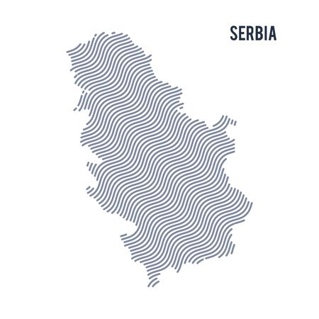 Vector abstract wave map of Serbia isolated on a white background. Travel vector illustration.