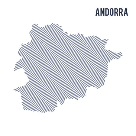 Vector abstract wave map of Andorra isolated on a white background. Travel vector illustration.