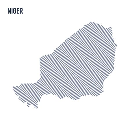 Vector abstract wave map of Niger isolated on a white background. Travel vector illustration. Illustration
