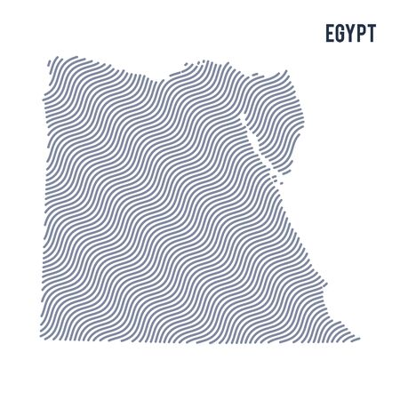 Vector abstract wave map of Egypt isolated on a white background. Travel vector illustration. Illustration