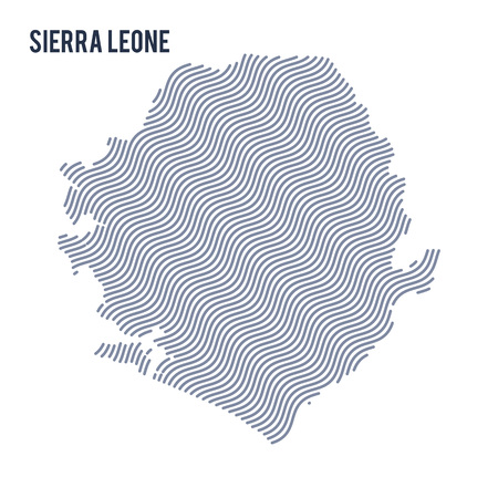 Vector abstract wave map of Sierra Leone isolated on a white background. Travel vector illustration.