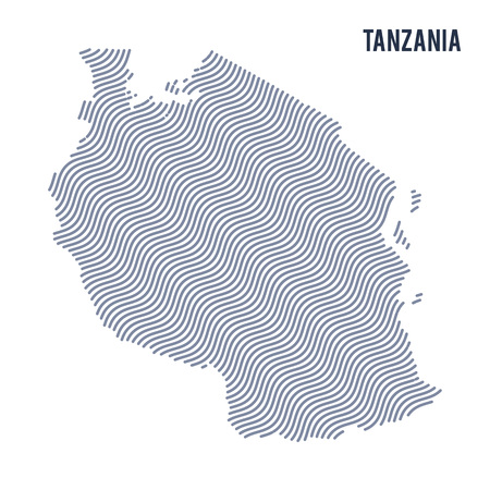 tanzania: Vector abstract wave map of Tanzania isolated on a white background. Travel vector illustration.