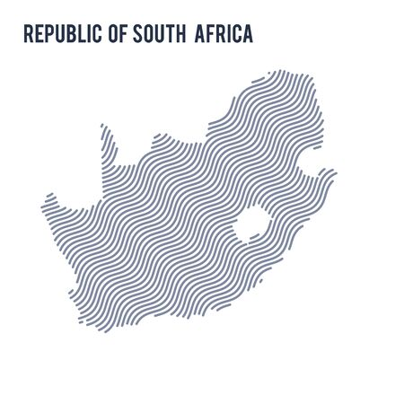 Vector abstract wave map of Republic of South Africa isolated on a white background. Travel vector illustration.