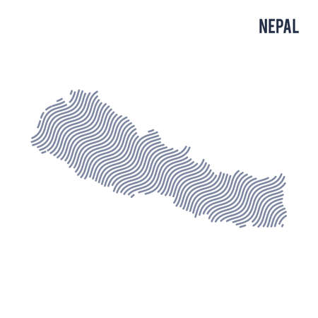 Vector abstract wave map of Nepal isolated on a white background. Travel vector illustration. Illustration