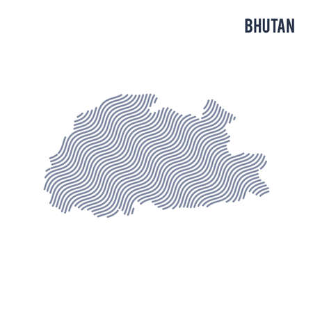 Vector abstract wave map of Bhutan isolated on a white background. Travel vector illustration. Illustration