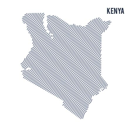 Vector abstract wave map of Kenya isolated on a white background. Travel vector illustration.