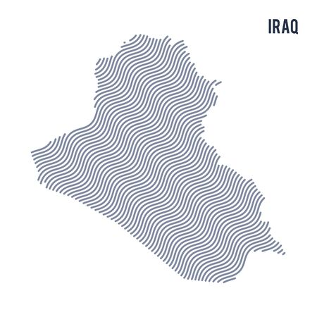 Vector abstract wave map of Iraq isolated on a white background. Travel vector illustration.