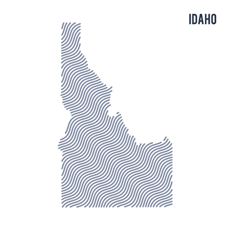 Vector abstract wave map of State of Idaho isolated on a white background. Travel vector illustration. Illustration