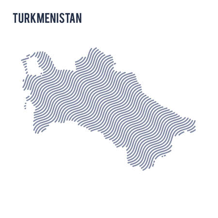 Vector abstract wave map of Turkmenistan isolated on a white background. Travel vector illustration.