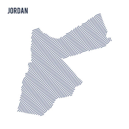 Vector abstract wave map of Jordan isolated on a white background. Travel vector illustration.