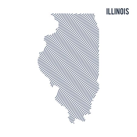Vector abstract wave map of State of Illinois isolated on a white background. Travel vector illustration.