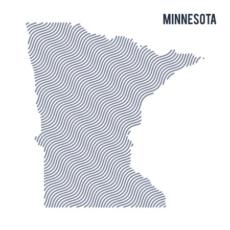 Vector abstract wave map of State of Minnesota isolated on a white background. Travel vector illustration.