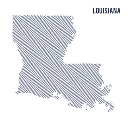 Vector abstract wave map of State of Louisiana isolated on a white background. Travel vector illustration.