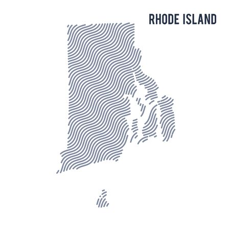Vector abstract wave map of State of Rhode Island isolated on a white background. Travel vector illustration.