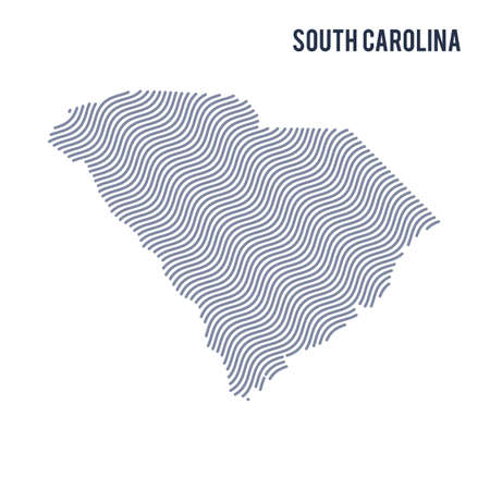 Abstract vector wave map of State of South Carolina, isolated on a white background. Travel vector illustration.
