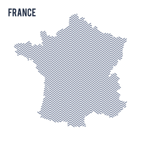 Vector abstract hatched map of France isolated on a white background. Travel vector illustration.