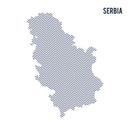 Vector abstract hatched map of Serbia isolated on a white background. Travel vector illustration. Çizim