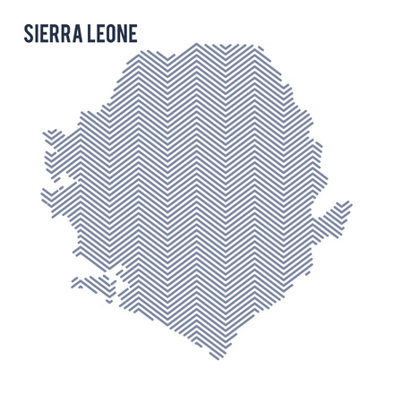 Vector abstract hatched map of Sierra Leone isolated on a white background. Travel vector illustration.