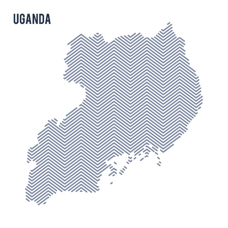 Vector abstract hatched map of Uganda isolated on a white background. Travel vector illustration.