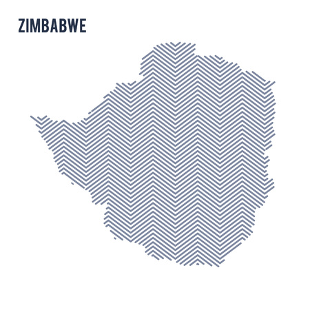 Vector abstract hatched map of Zimbabwe isolated on a white background. Travel vector illustration.