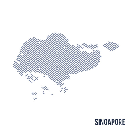 Vector abstract hatched map of Singapore isolated on a white background. Travel vector illustration.