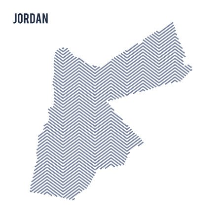 Vector abstract hatched map of Jordan isolated on a white background. Travel vector illustration.