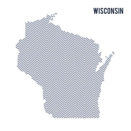 ウィスコンシン州は、白い背景で隔離のベクトル抽象孵化したマップ。旅行のベクトル図です。