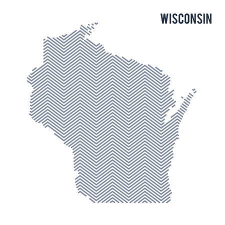 Vector abstract hatched map of State of Wisconsin isolated on a white background. Travel vector illustration.